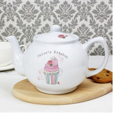 Hampers and Gifts to the UK - Send the Personalised Vintage Style Cupcake Teapot
