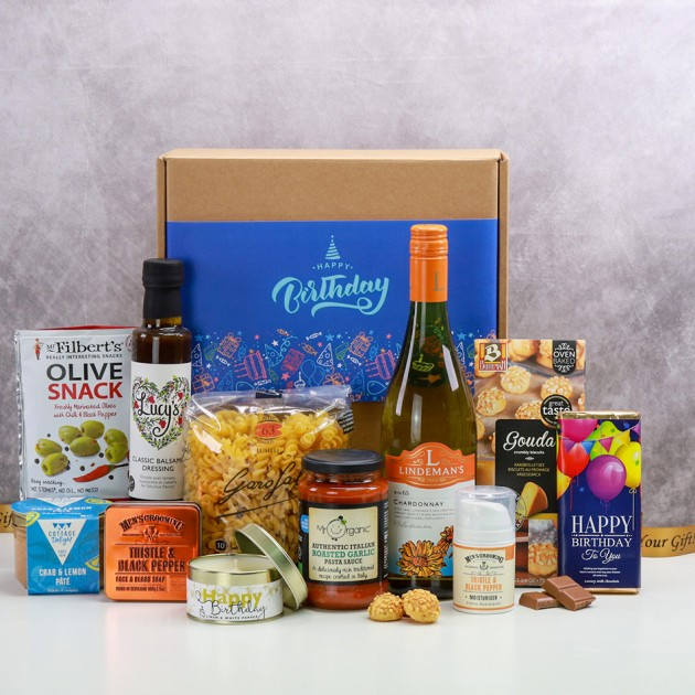 Hampers and Gifts to the UK - Send the Happy Birthday Box of Treats for Him