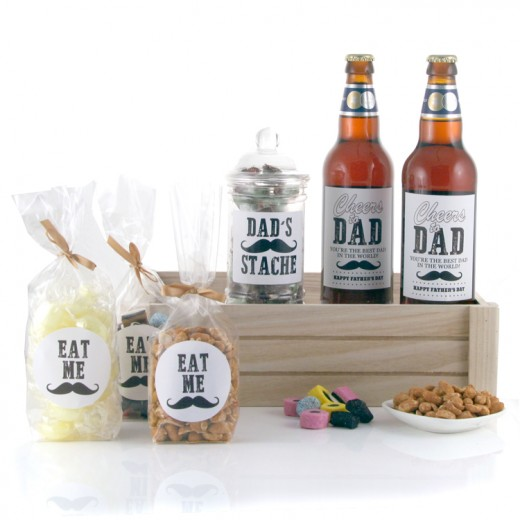 Hampers and Gifts to the UK - Send the Dads Stache Beer and Snacks Hamper