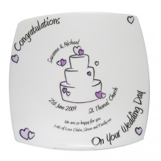 Hampers and Gifts to the UK - Send the Congratulations Wedding Plate - Personalised