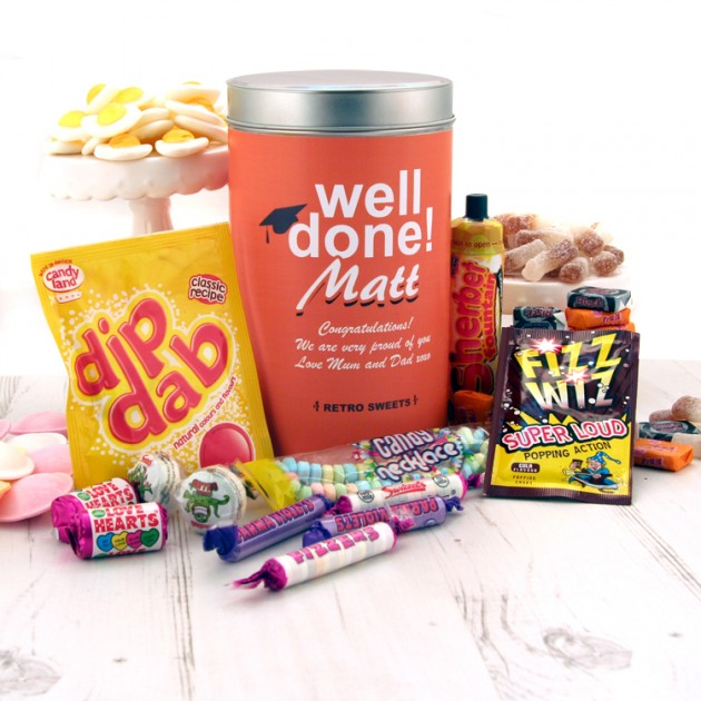 Hampers and Gifts to the UK - Send the Retro Sweets Gift Tin Graduation
