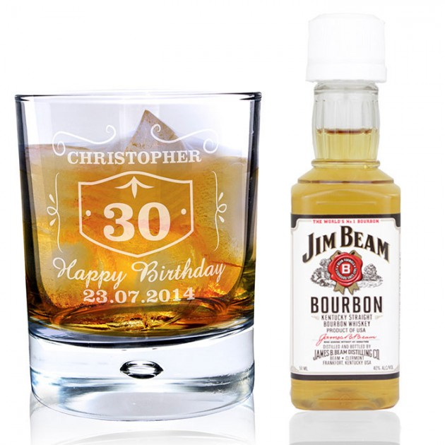 Hampers and Gifts to the UK - Send the Whisky Glass and Bourbon Whisky Miniature Gift Set