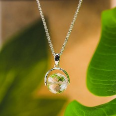 Hampers and Gifts to the UK - Send the White Crystal  Ball Necklace