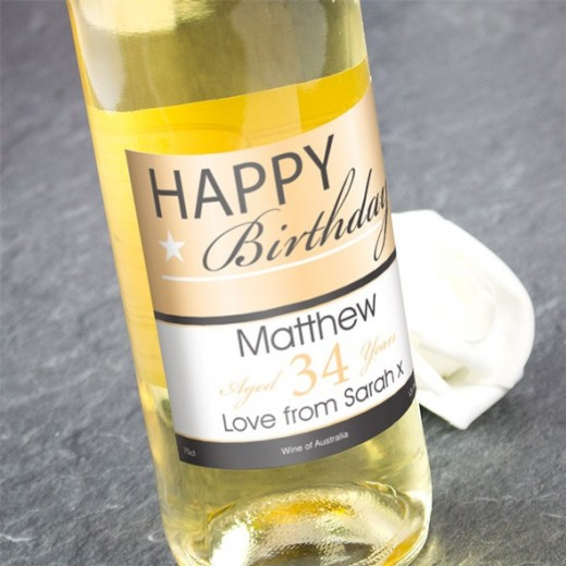 Hampers and Gifts to the UK - Send the Happy Birthday White Wine Personalised