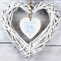 Hampers and Gifts to the UK - Send the Home is Where... Personalised Wicker Heart Decoration