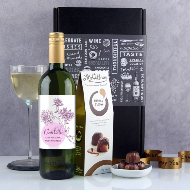 Hampers and Gifts to the UK - Send the Purple Dahlia Personalised Wine Gift
