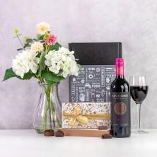 Wine Chocolates & Flowers Gift