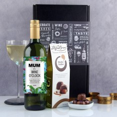 Hampers and Gifts to the UK - Send the Any Name Wine O'Clock Wine and Chocs Gift Box