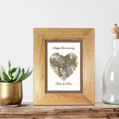 Hampers and Gifts to the UK - Send the Any Postcode Heart Map Framed