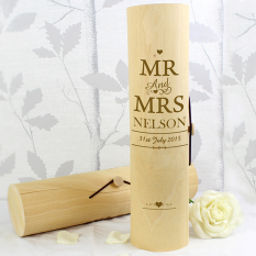 Hampers and Gifts to the UK - Send the Personalised Mr and Mrs Wooden Wine Cylinder