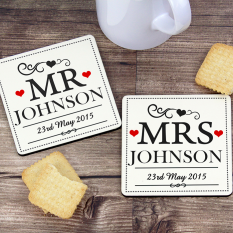 Hampers and Gifts to the UK - Send the Mr & Mrs Personalised Coaster Set