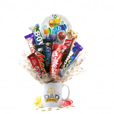 Hampers and Gifts to the UK - Send the Best Dad In the World Chocolate Bouquet In A Mug