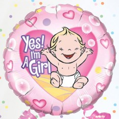 "Hampers and Gifts to the UK - Send the Yes I'm a Girl 18"" Foil Balloon"