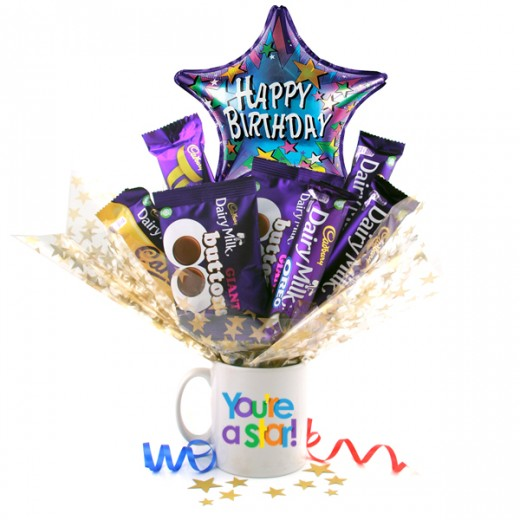 Hampers and Gifts to the UK - Send the Birthday You're A Star Chocolate Bouquet In A Mug
