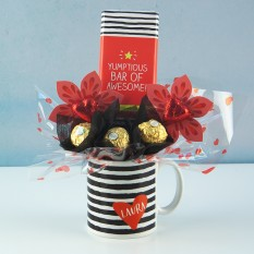 Hampers and Gifts to the UK - Send the Personalised Yumptious & Awesome Mug Bouquet