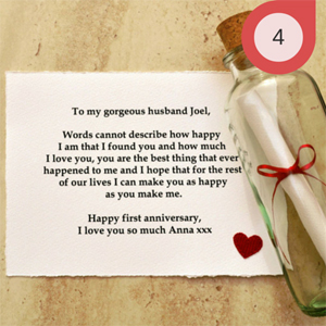 Message In a Bottle Anniversary Paper Gift Idea