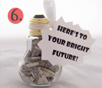 Money Gift Idea using a lightbulb with the message Here's to Your Bright Future