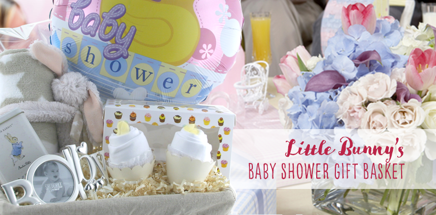 Little Bunny's Baby Shower Gift Basket... the perfect baby gift for the mum-to-be's baby shower party....