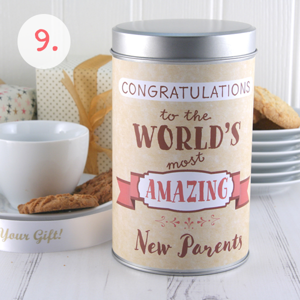New Parents Cookie Tin for a Baby Shower Gift Idea...