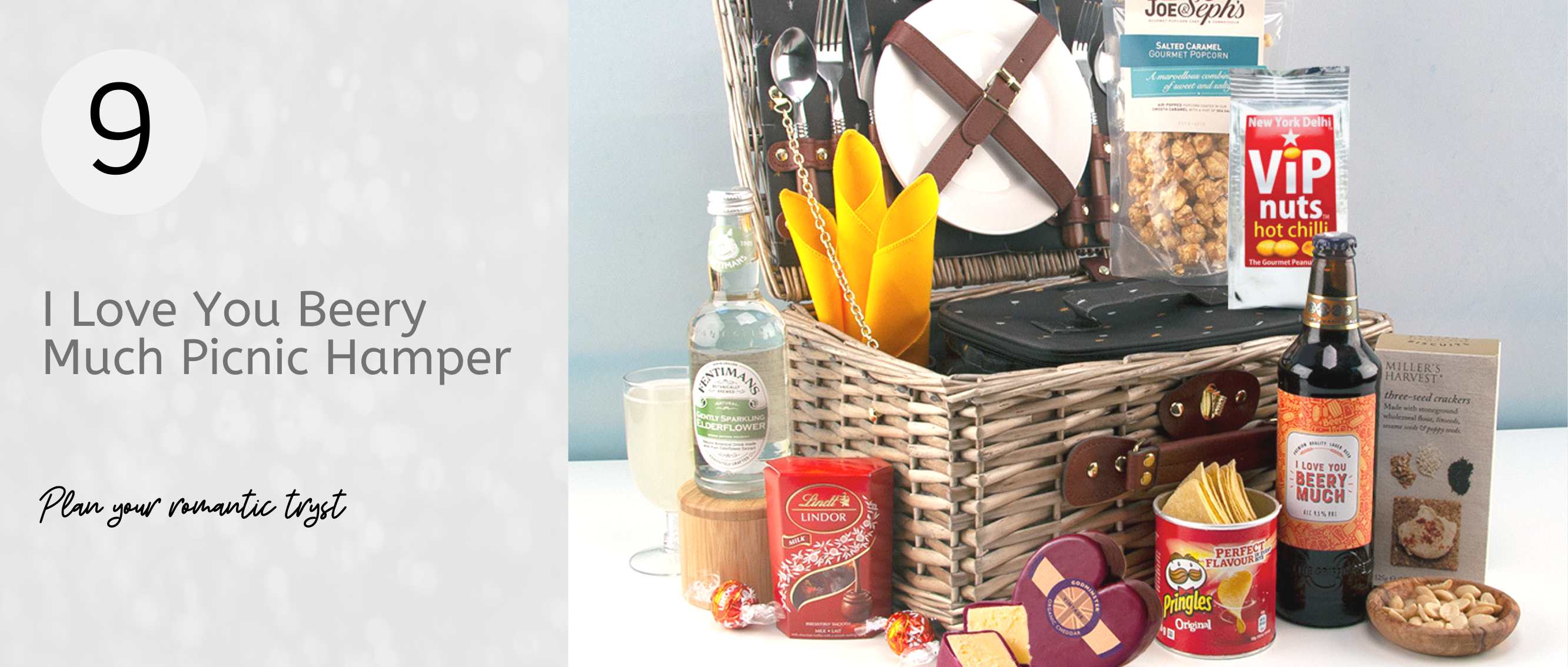 Plan your next romantic tryst with this lovely picnic hamper for two filled with delicious food and drink...