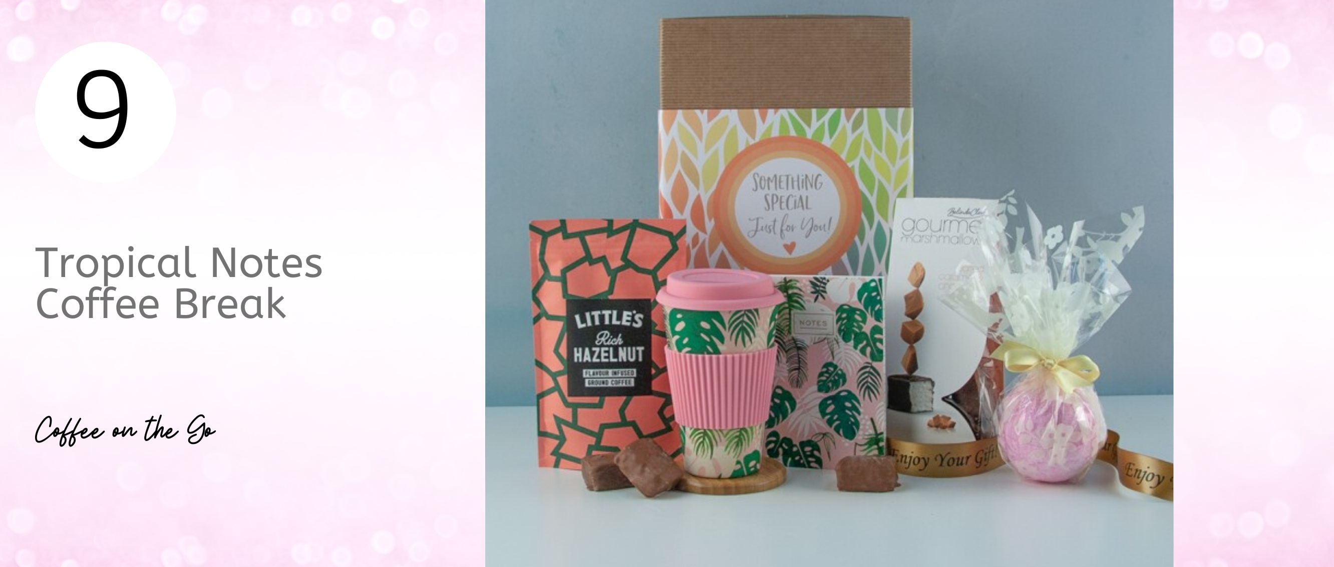 Tropical themed notebook and travel coffee cup... gift ideas for Mums