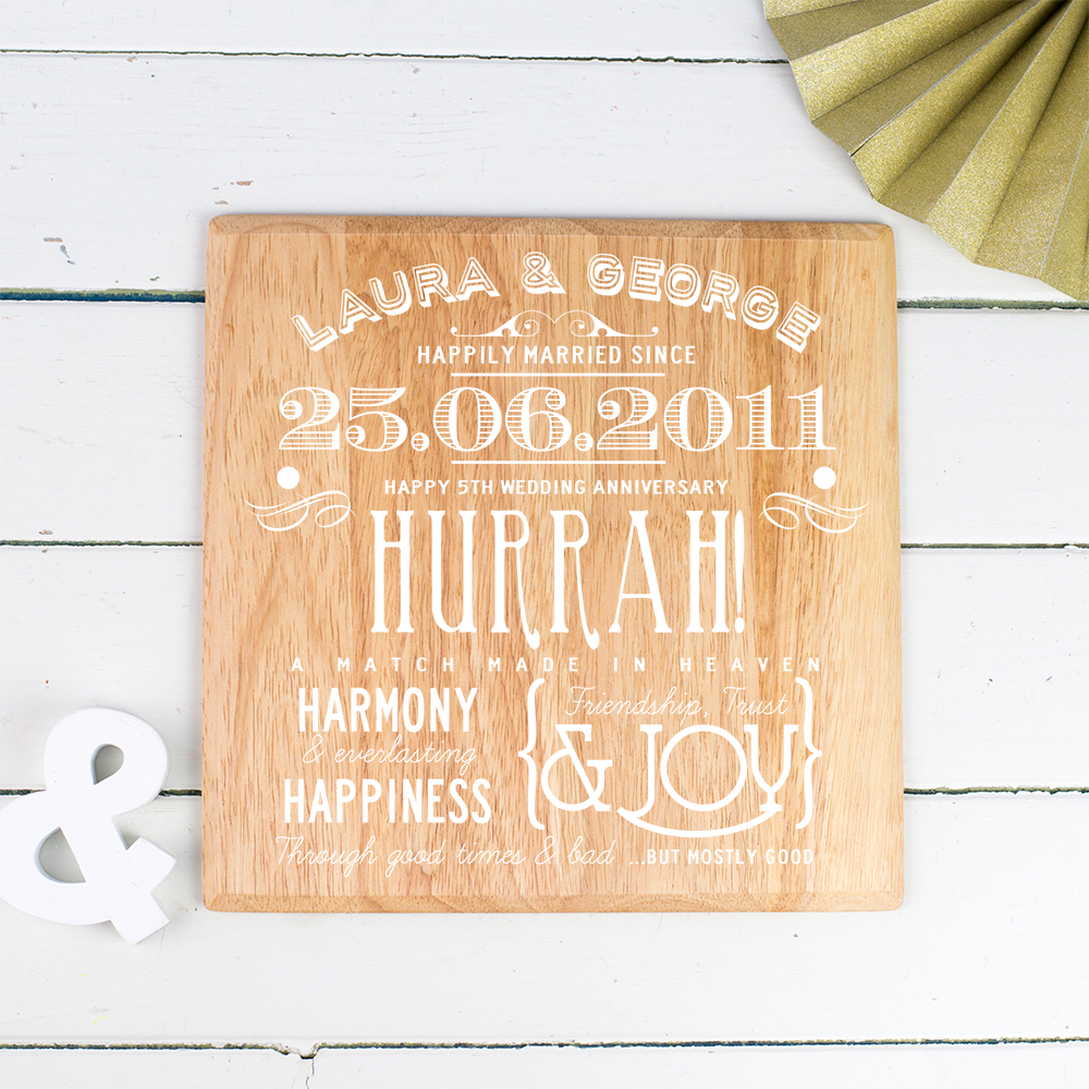 Wooden Personalised Wall Print to Celebrate a Fifth Wedding Anniversary...