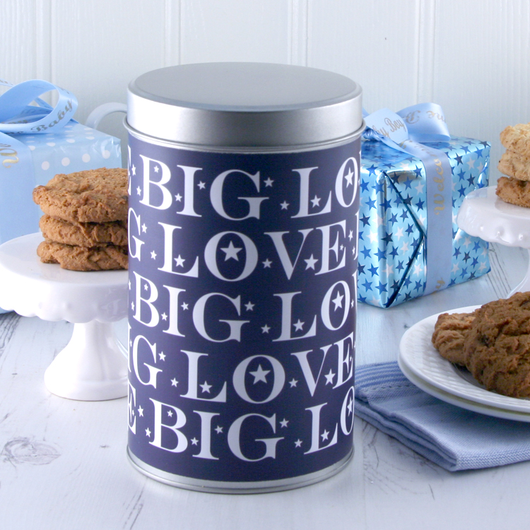Big Love Cookies in a Keepsake Tin... perfect gift choice for a tin wedding anniversary...