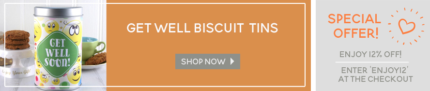 In addition to our get well hampers we also offer biscuit tins.... shop now