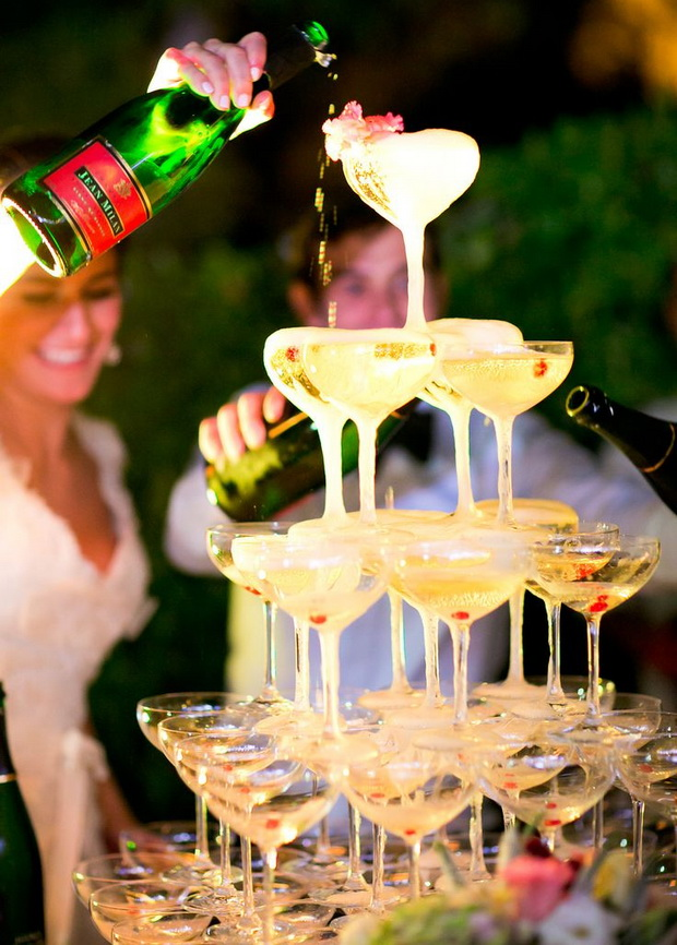 Champagne glass tower to celebrate a special event...