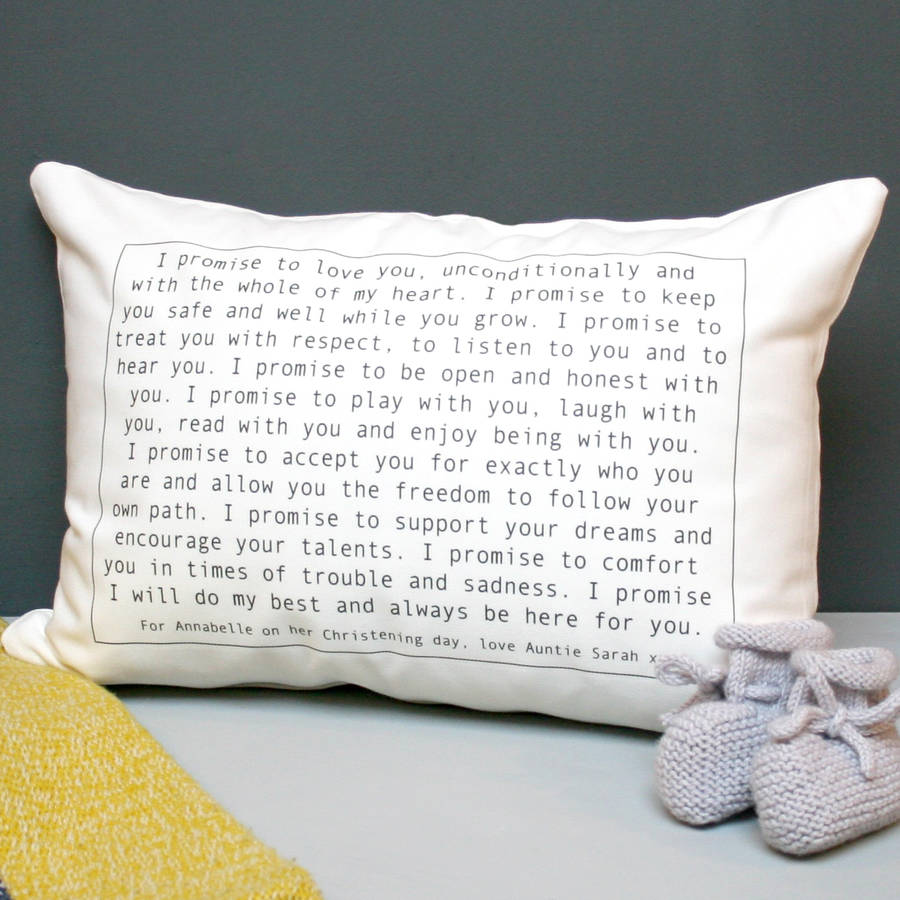 Personalised Christening Vow Cushion
