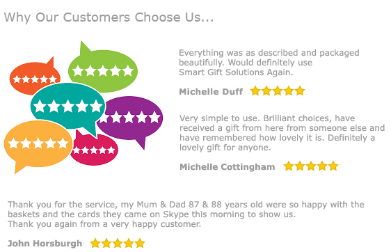 Customer Reviews - why our customers choose us... Very simple to use. Brilliant choices, have  received a gift from here from someone else and  have remembered how lovely it is. Definitely a  lovely gift for anyone.