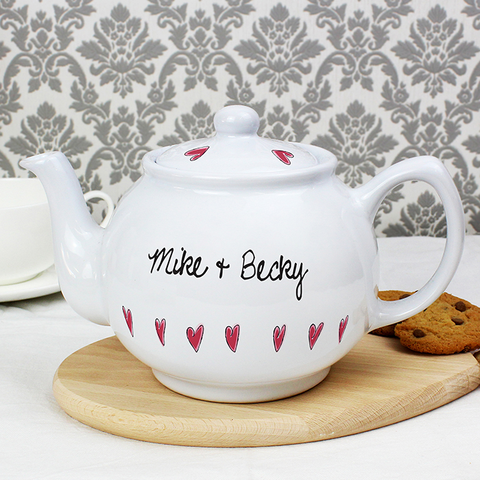 Multi Hearts Design China Teapot.... personalise with any two names... ideal gift for a china anniversary
