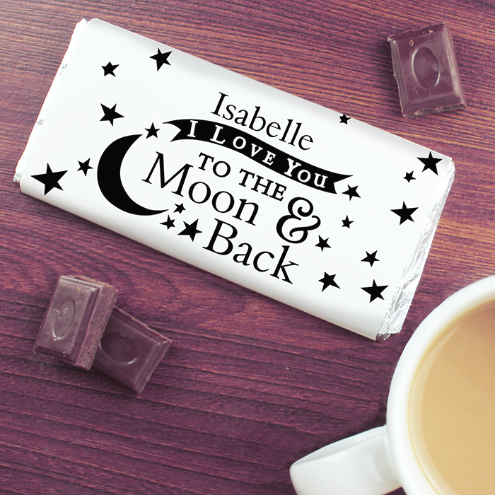 I Love You To The Moon and Back Personalised Chocolate Bar