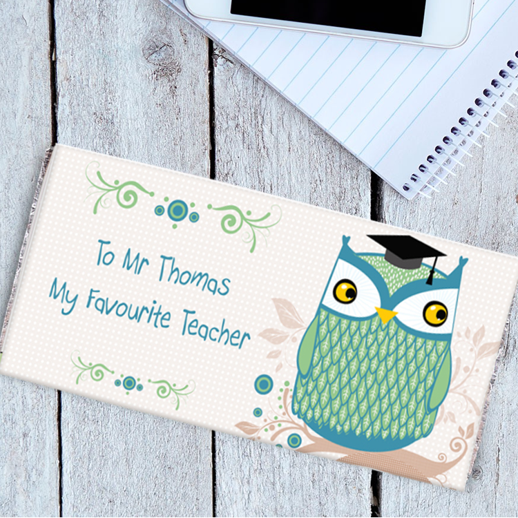 Personalised Mr Owl Chocolate Bar for Teachers Gift