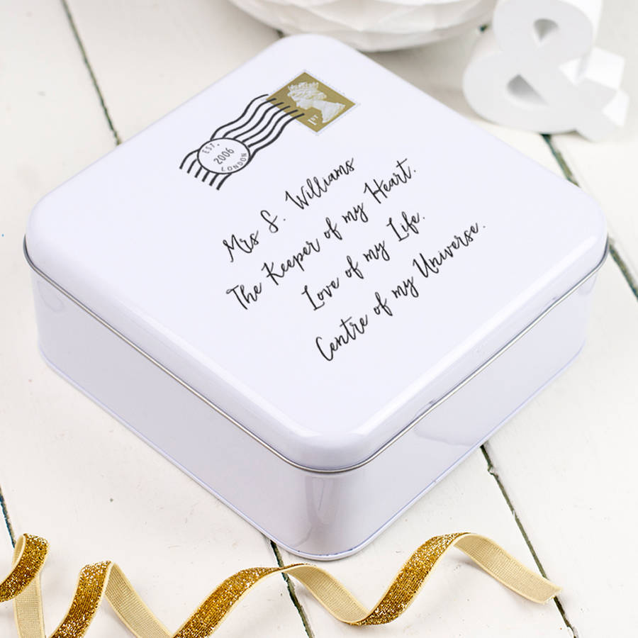 Love letters keepsake tin box with handwritten personalised note on lid.... a great gift for a tenth anniversary...