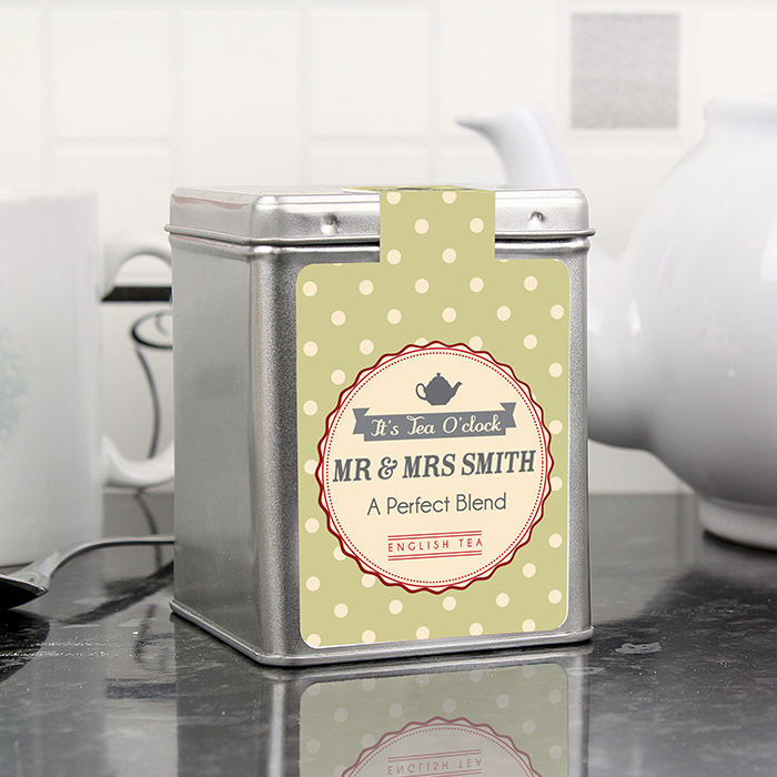 Personalised Caddy of Tea... the perfect blend... add couple's names for the perfect tin wedding anniverary gift...