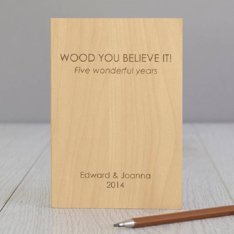 Personalised Wooden Slab Note Book... an ideal gift to celebrate a 5th Wedding Anniversary...