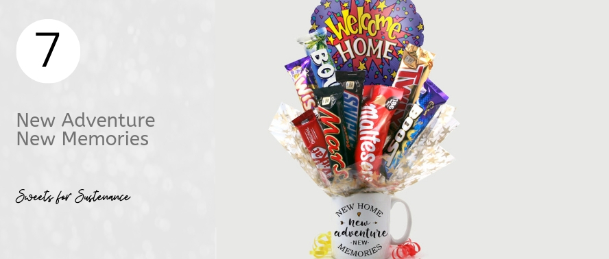 Welcome Home Chocolate Bouquet with a medley of favourite chocolate bars and a coffee mug...